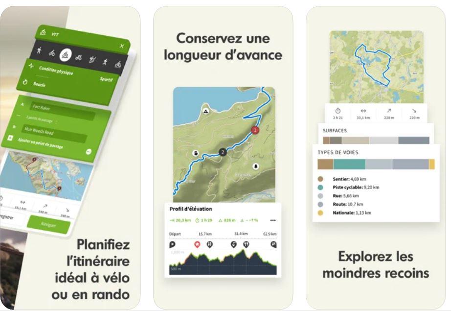 Komoot appli GPS pour VTT et vélo